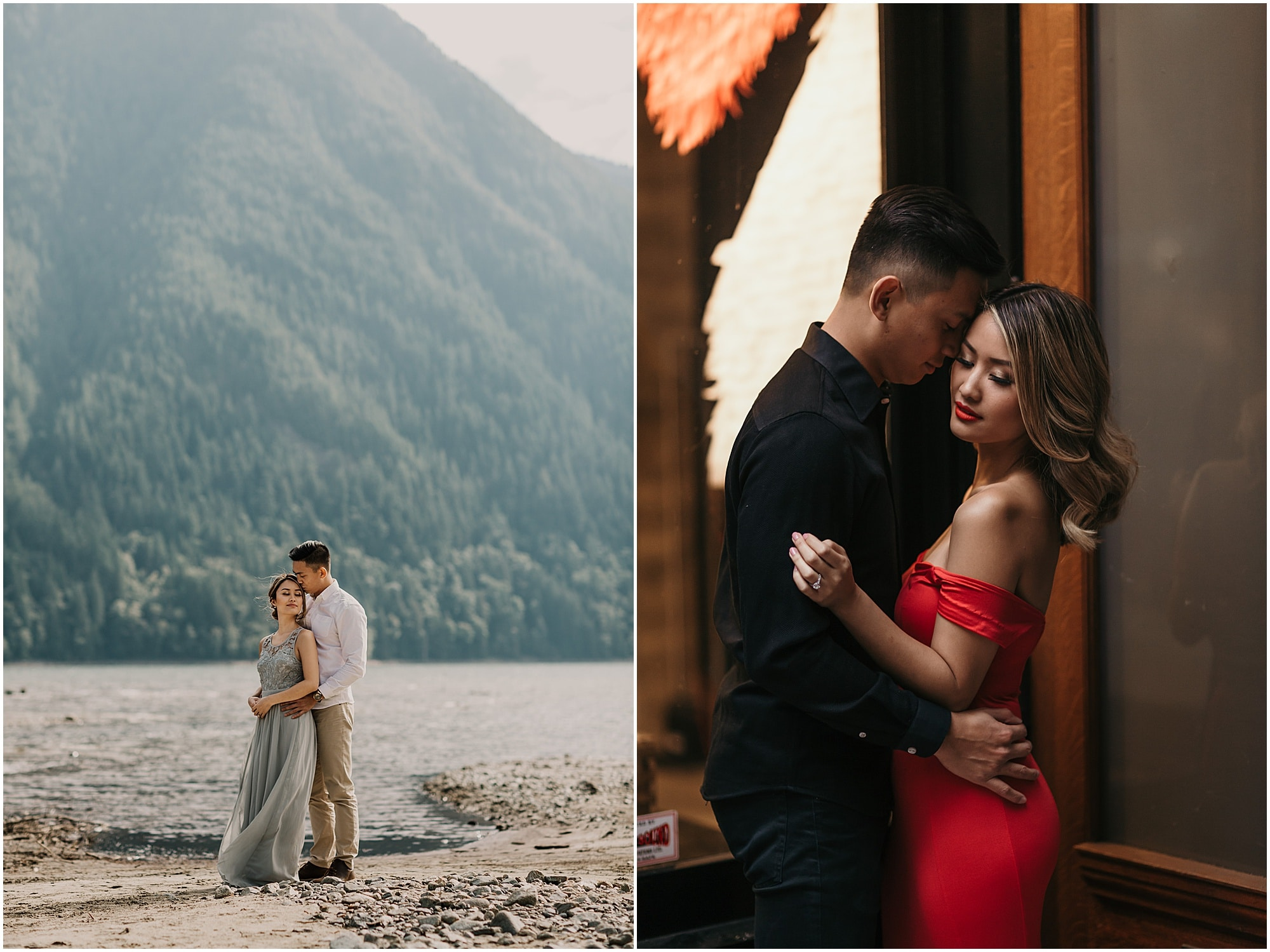 Couple standing on the beach at Golden Ears Park and same couple standing in an alleyway in Gastown in Downtown Vancouver during engagement photography session