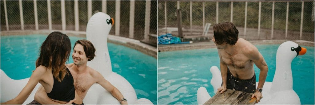 social distancing engagement session - couple lying down on inflatable swan in pool