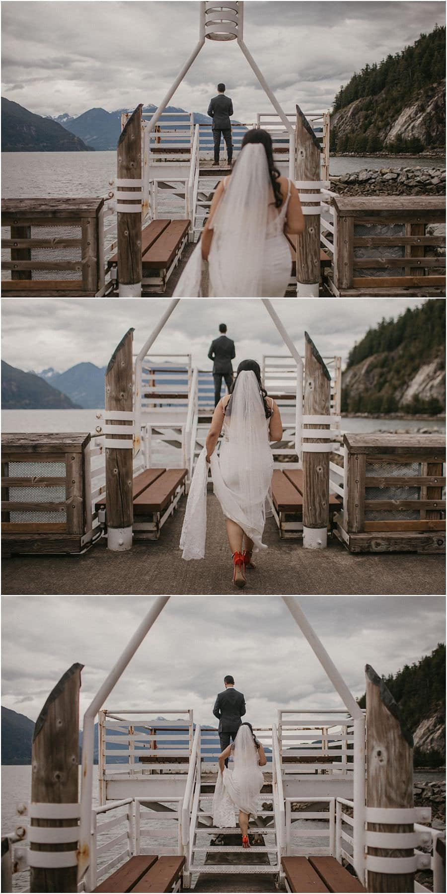 Series of images of bride walking to her groom for her Squamish Micro Wedding