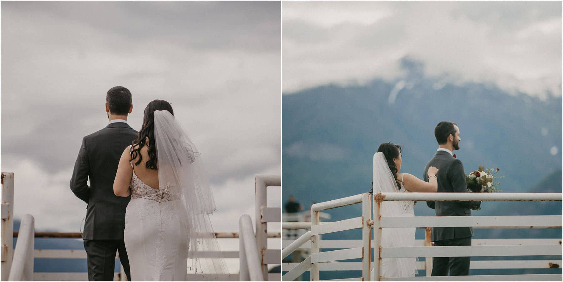 bride tapping groom on shoulder before their Squamish Micro Wedding