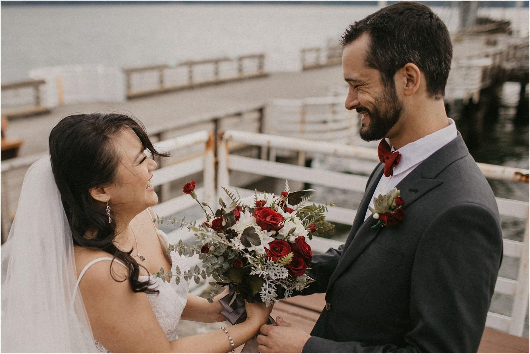 bride and groom smiling at each other in excitement before their Squamish Micro Wedding