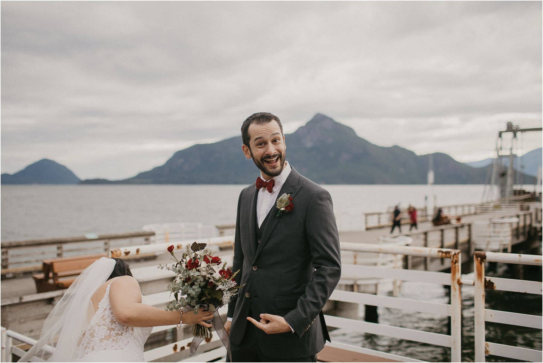 Groom excited for his Squamish Micro Wedding after seeing his bride