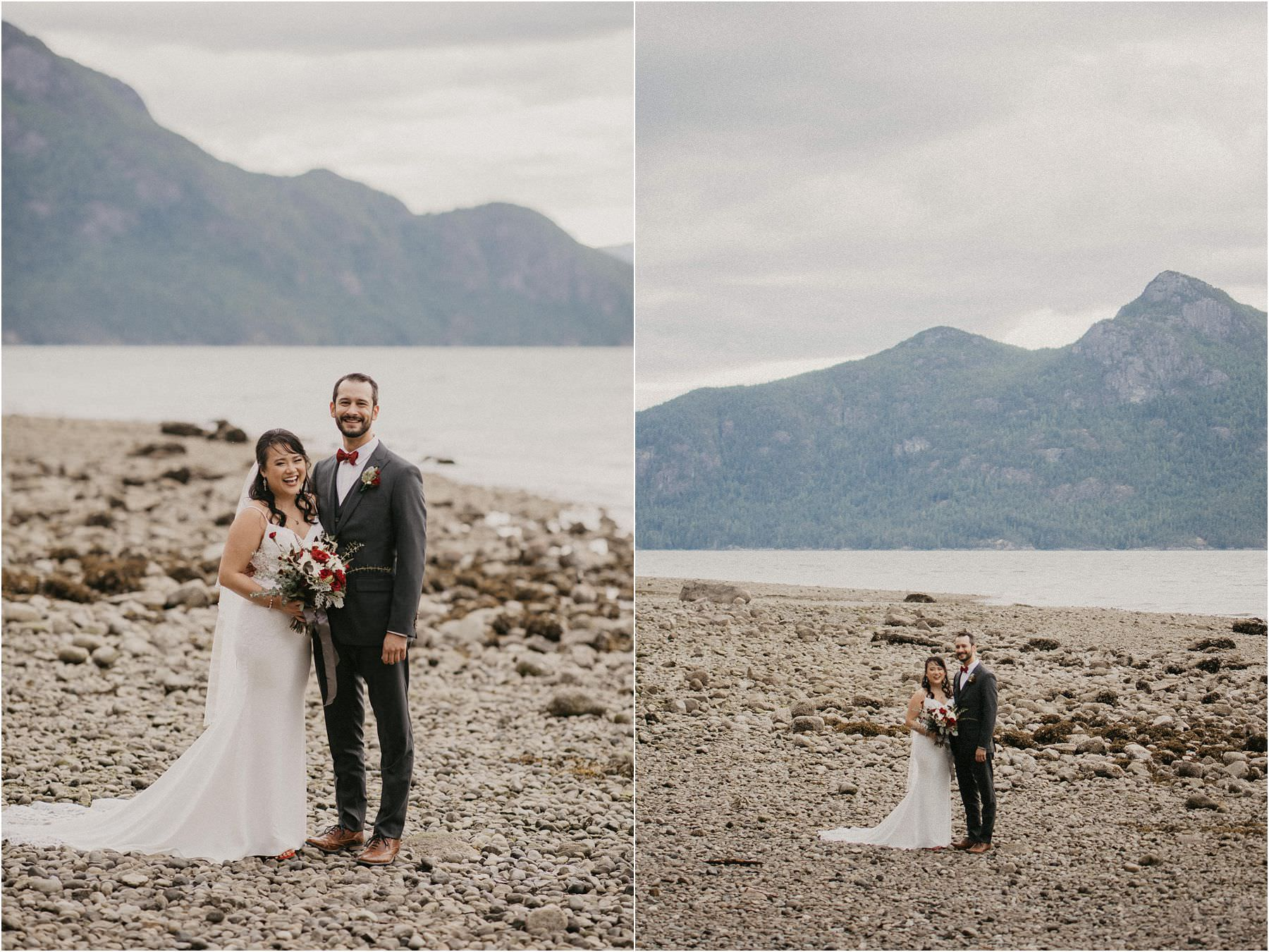 Bride and groom posed on rocky beach at Porteau Cove Provincial park for their Squamish Micro Wedding