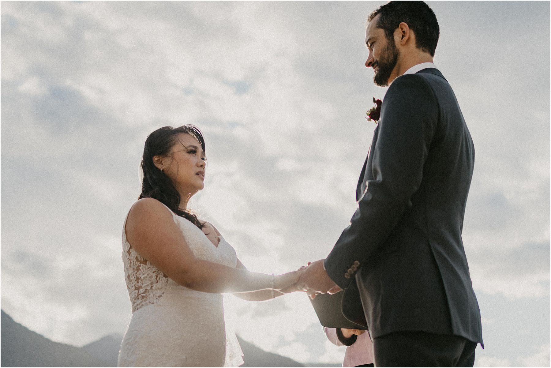 Bride and Groom Joining hands Squamish Micro Wedding