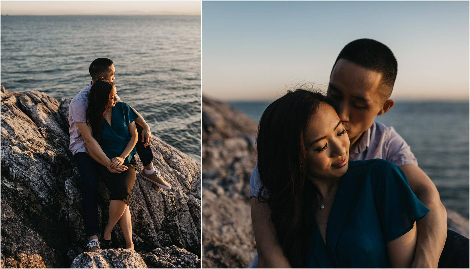 Top 5 Locations for your engagement shoot in vancouver - Couple enjoying their first sunset together at lighthouse park in west vancouver
