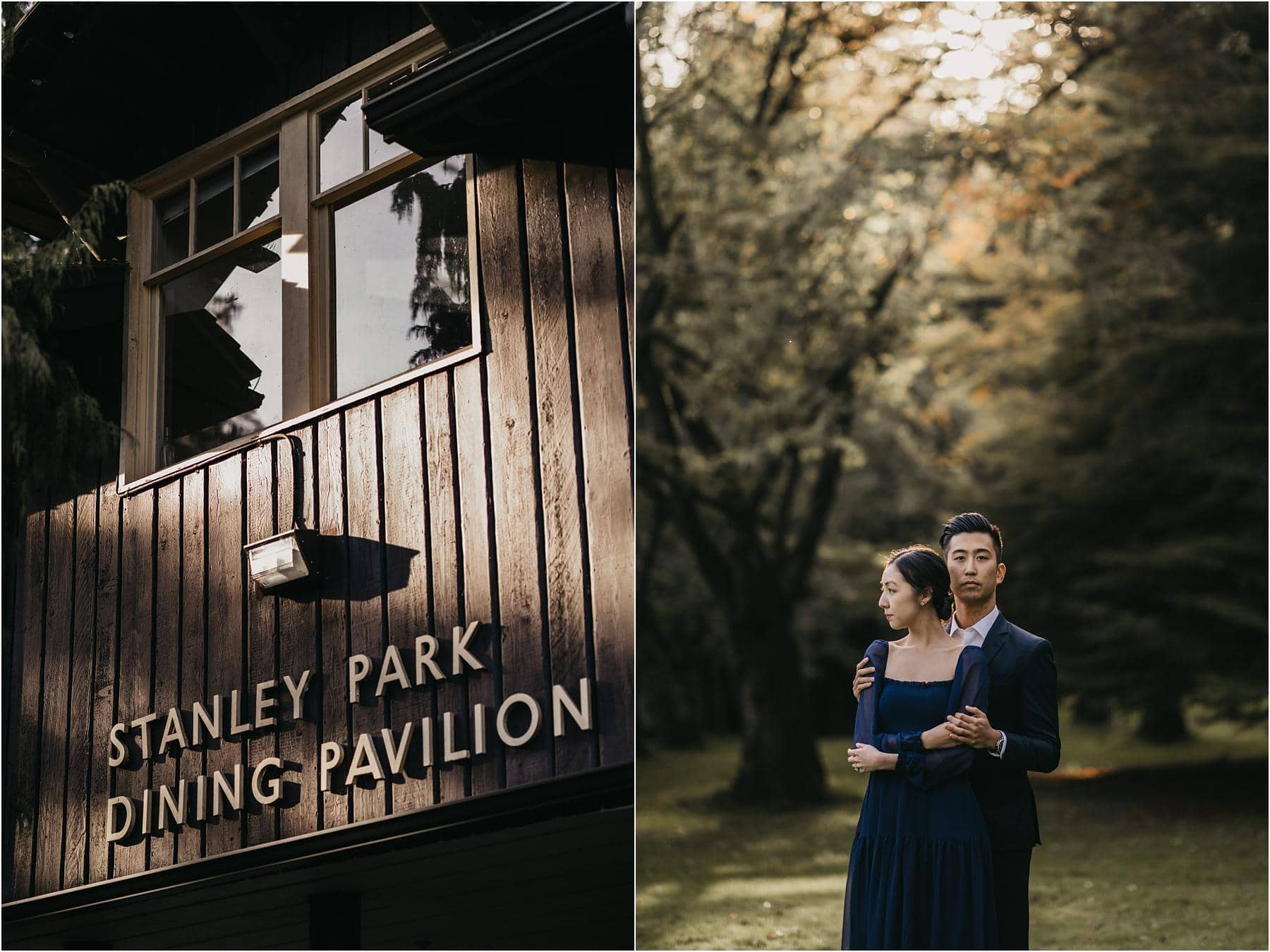 Couple posing for a photograph near the stanley park dining pavilion Top 5 Locations for your engagement shoot in vancouver