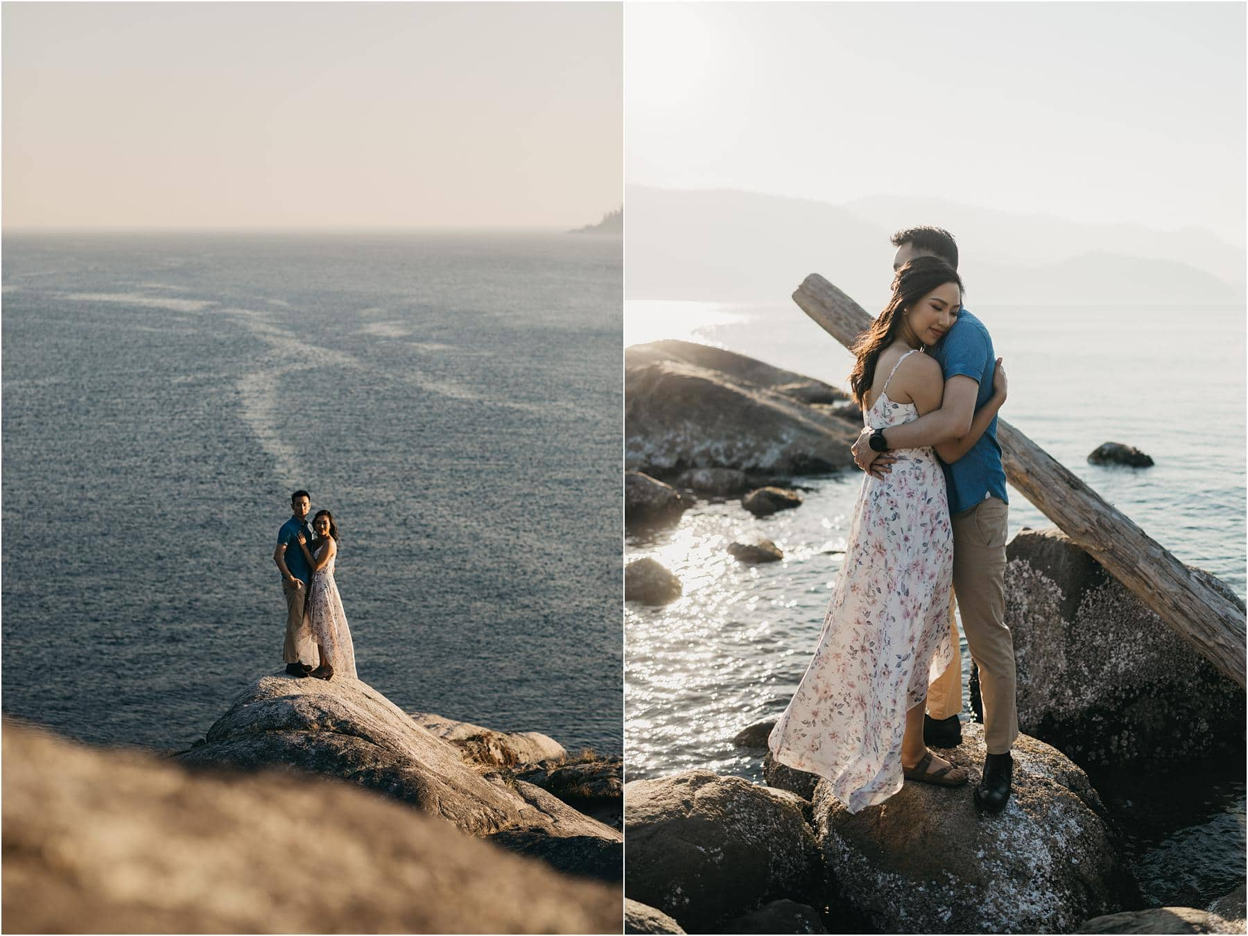 Top 5 Locations for your engagement shoot in vancouver - Couple posing for photos on the cliffs at whytecliff park
