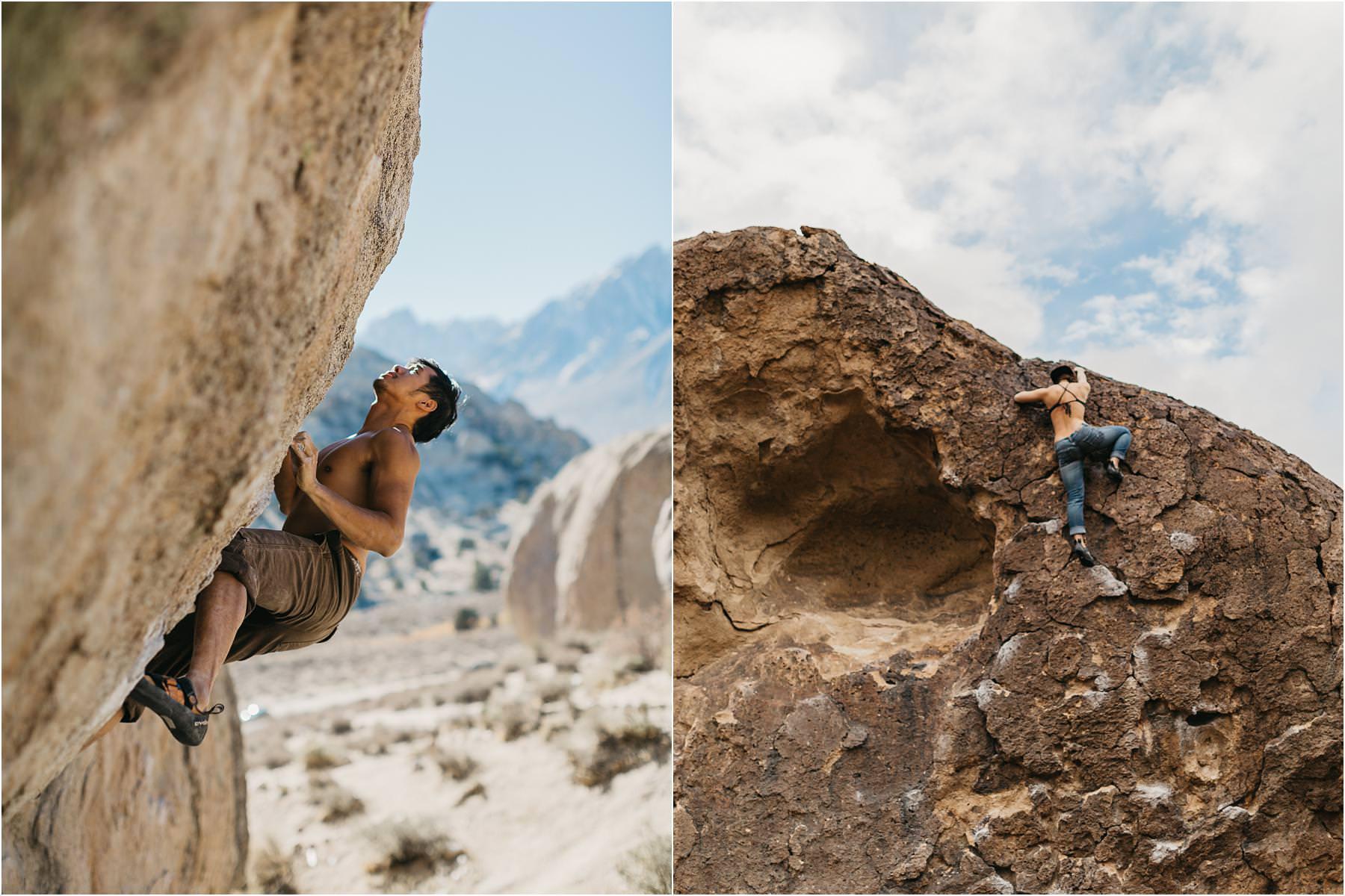 David and Justina Tam climbing boulders in Bishop, California